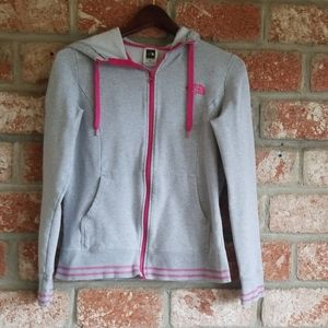 The North Face full zip gray hoodie sweatshirt